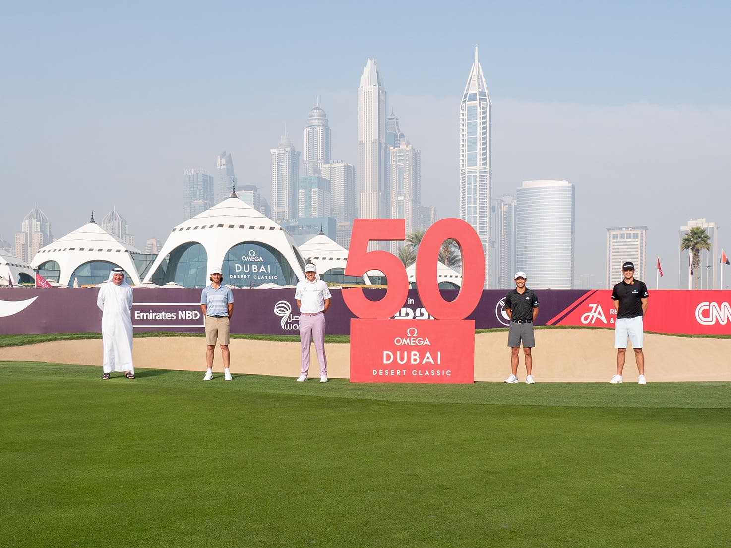 Golf Icons Celebrate UAE's 50th Anniversary at 2021 OMEGA Dubai Desert Classic