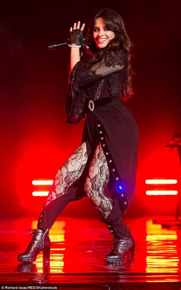 Camila Cabello Performs in London in a Sexy Lace Lingerie