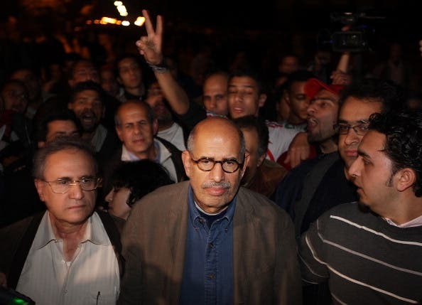 Mohamed ElBaradei arrives in Tahrir Square during the January 2011 revolution.