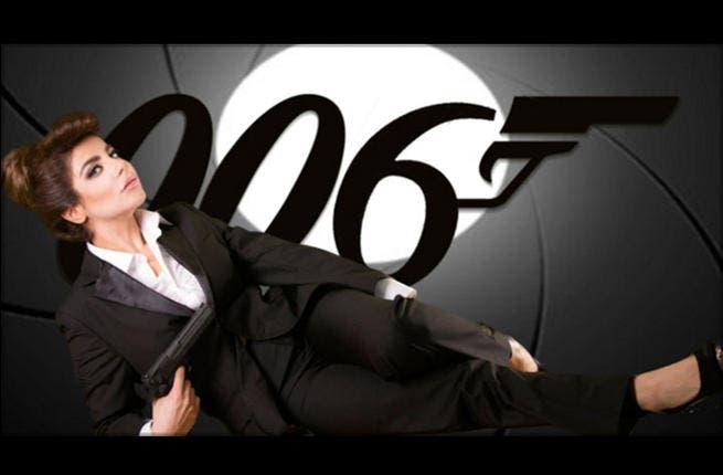 Halima Poland in her bond-inspired suit! (Image: Facebook)