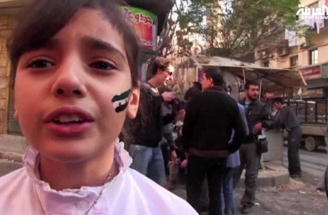 The Syrian girl singing just before the bomb goes off.