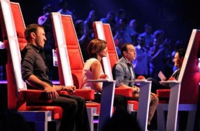 Judges on The Voice show (Sherine Abdel Wahab center).