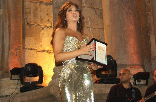 Superstar Najwa Karam performs on the Jerash stage. (Image: Facebook)