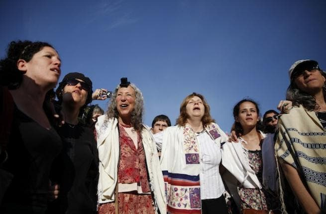 Members of the liberal Jewish religious group Women of the Wall wear phylacteries and the