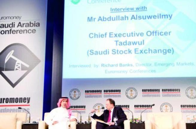 Abdullah Al-Suweilmy with Richard Banks, director, emerging markets of Euromoney, in Riyadh. (AN photo by Ahmed Fathy)