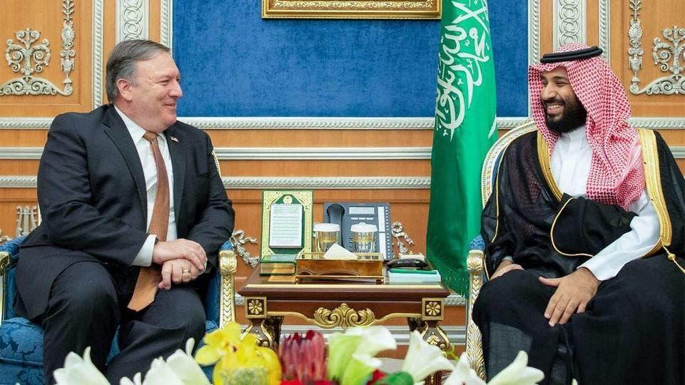 وزير الخارجية الأمريكي مايك بومبيو خلال لقائه الامير محمد بن سلمان في الرياض