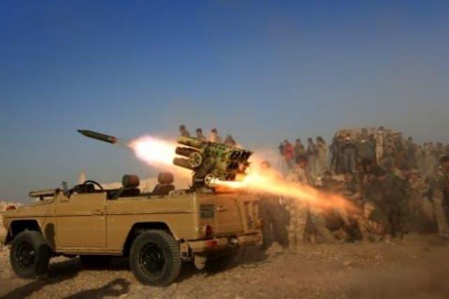 راجمة صواريخ للبشمركة في قرية الشيخ علي قرب بعشيقة