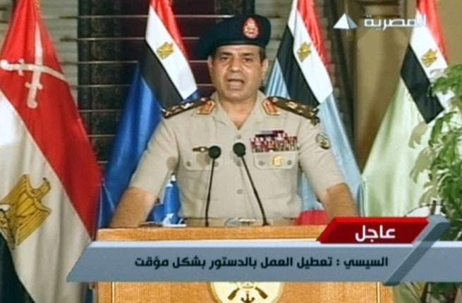 An image grab taken from Egyptian state TV shows Egyptian Defence Minister Abdelfatah al-Sissi delivering a statement on July 3 (Egyptian TV / AFP)