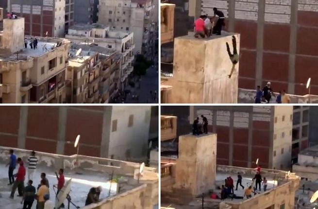 A combo of image grab taken from a video uploaded to YouTube on July 5, 2013, shows an unidentified group of men taking refuge atop of a building while being surrounded by another group of men (Top-L), hurled of a ledge onto the roof of a building (Top-R, Bottom-L), and then beaten (Bottom-R) (YouTube / AFP)