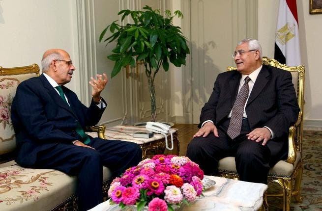 A handout picture released by the Egyptian Presidency shows Egypt's interim president Adly Mansour meeting with opposition National Salvation Front leader Mohamed El Baradei (AFP)