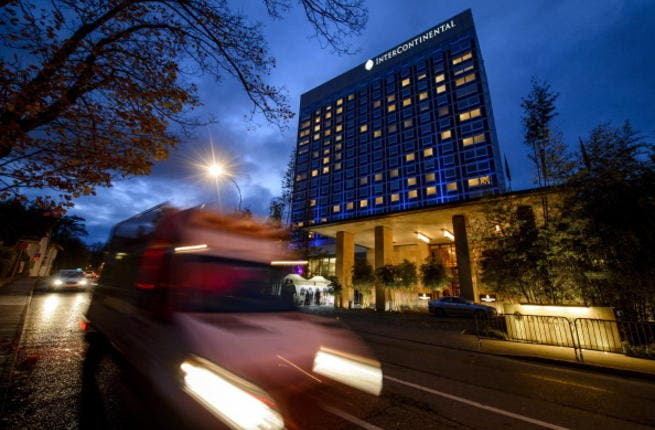 Intercontinental Hotel during talks over Iran's nuclear programme in Geneva on November 21, 2013. [Getty Images]