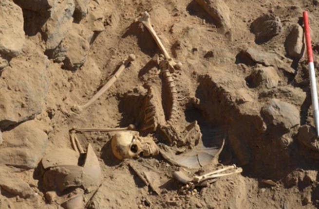 The newly discovered skeleton is thought to belong to a young Roman warrior who died in battle (Ahram image)