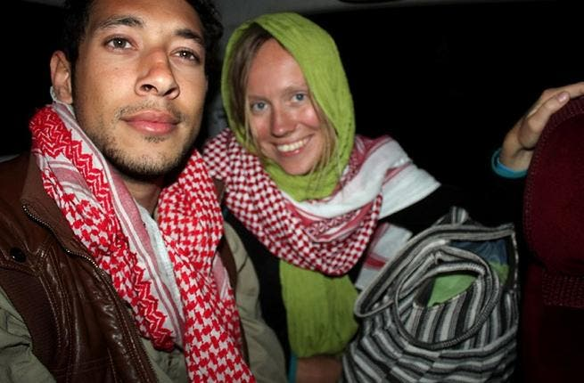 An Israeli Arab tourist identified as Amir Omar Hassan (L) and a Norwegian tourist (AFP PHOTO/STR)