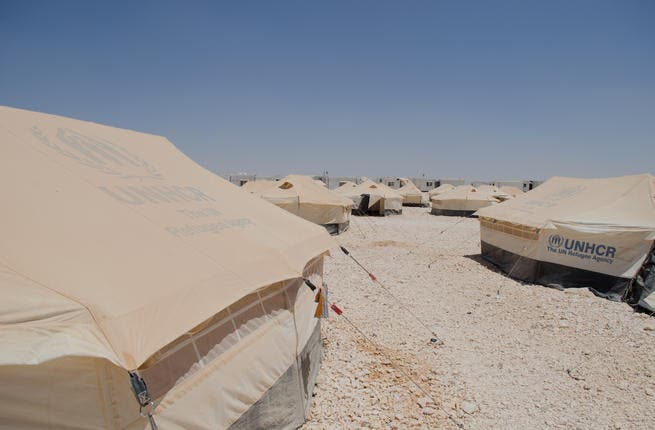 Record refugees:  A view of the layout of some of the tents in Zaatari. Now Jordan's fourth biggest town and the second largest refugee camp in the world, it is home to over 150,000 people according to UN estimates. (AlBawaba/J. Zach Hollo)