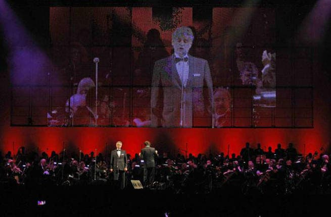 Italian tenor Andrea Bocelli takes the stage at the du Arena in Yas Island