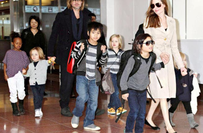 Happy families: The Brangelina Bunch on a typical day out