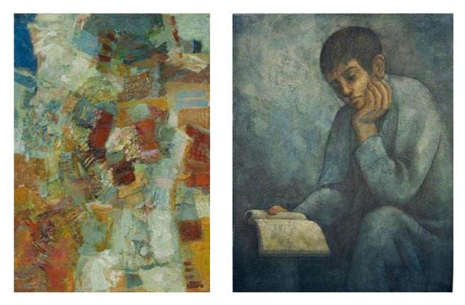 """Chafic Abboud """"Untitled"""" and Louay Kayyali """"Boy Reading"""""""
