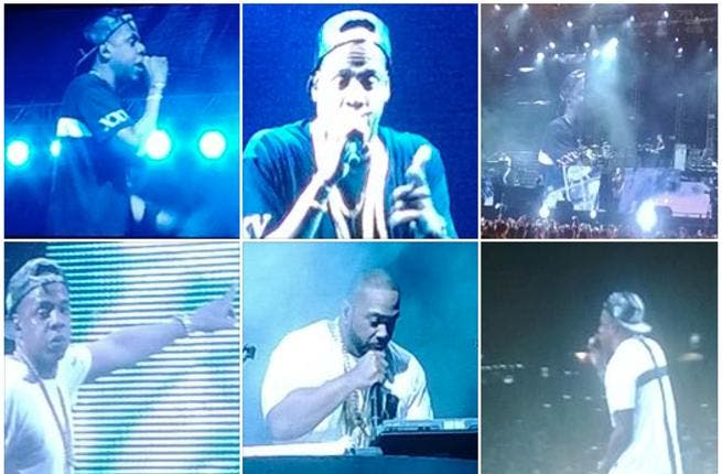 Jay Z and Timbaland sweating it out on stage, which they were well rewarded for with lots of free gifts (Image: Twitter)