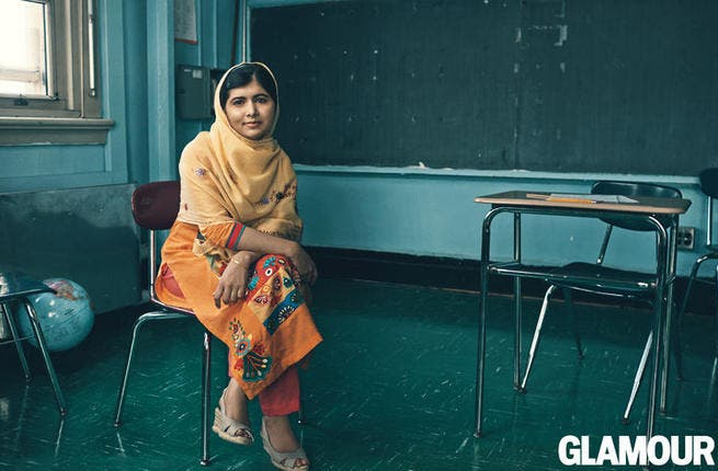 Glamourous Malala Yousafzai in New York. (Image courtesy of Glamour)