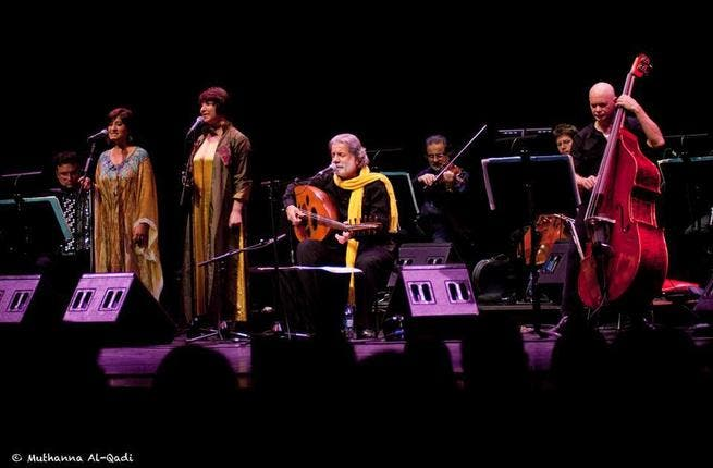Marcel Khalife kicks it on the oud in London (Photo courtesy of Facebook/Muthanna Al-Qadi)