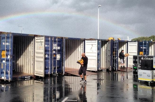 Underneath a gorgeous rainbow, the crew loaded 40 containers for the long haul to Dubai. (Image: Facebook)