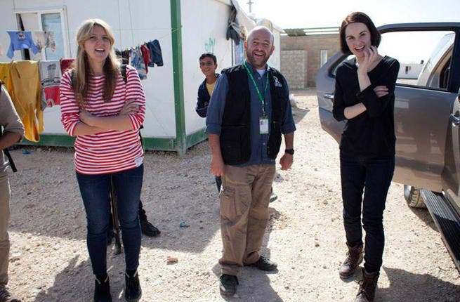Michelle Dockery visiting Zaatari camp for Syrian refugees recently. (Image: Facebook)