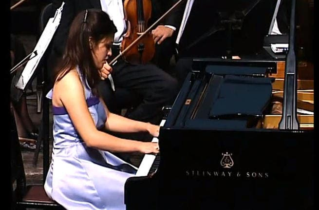 Mirette Hanna hits the right keys (Image taken from YouTube)