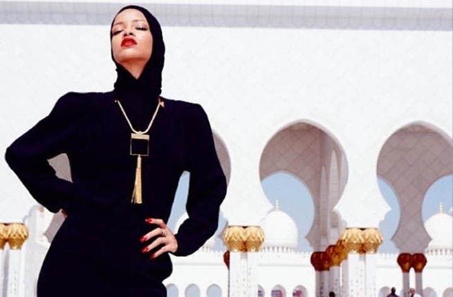 Rihanna isn't exactly cartoon material yet as she poses in front of Abu Dhabi Grand Mosque! (Image: Instagram)