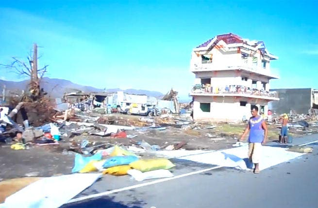 This screenshot from the video of typhoon-struck Tacloban reveals the level of damage mentioned by Perry.