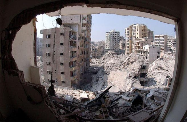 A destroyed Beirut on display.