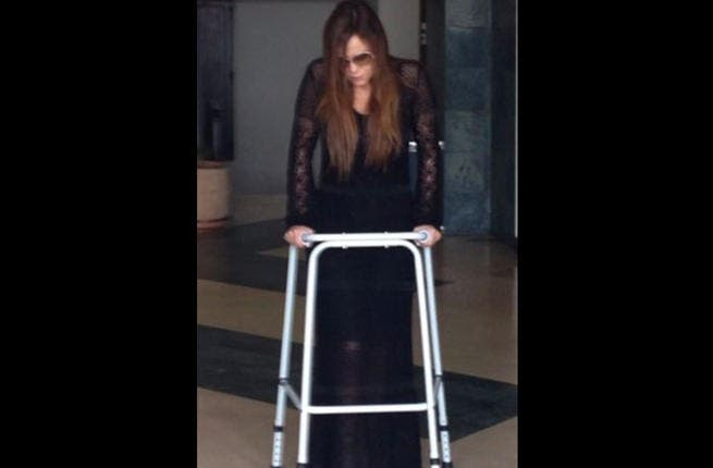 Carole Samaha is up and at 'em again with the support of a walker (Image: Twitter)