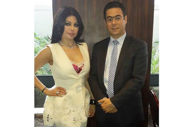 Haifa Wehbe with Minister of Telecommunication Mr. Nicola Sehnaoui at