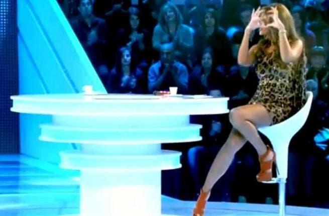Maya Diab flashes some leg on TV