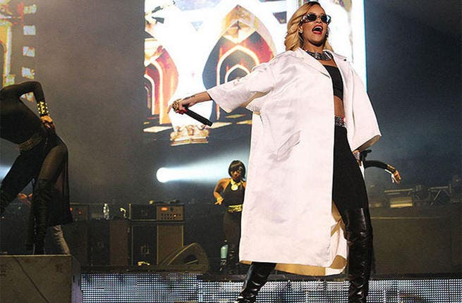 Dr. Rihanna? Mad scientist? What is the superstar wearing?