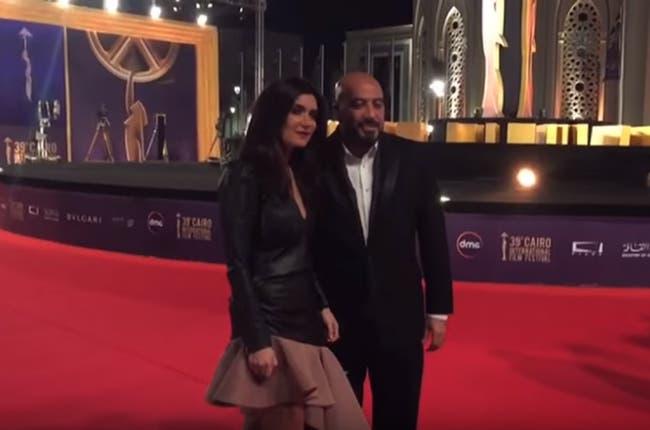 Ghada Adel and husband Magdi AlHawari on the redcarpet (Source: Youtube - ALMasri AlYoum)