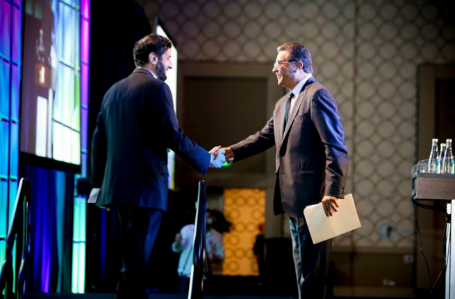 H.E. Dr. Tawfig Alrabiah, Minister of Commerce and Industry shakes hands with Omar Farid, who has been appointed as the President for Middle East and Africa for PepsiCo, (Image credit: Saudi US Trade Group)