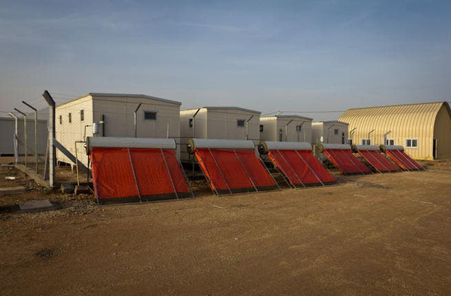 Solar heating for communal showers