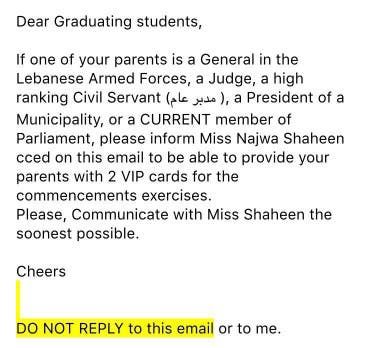 Dina received this email from LAU administration (Facebook)