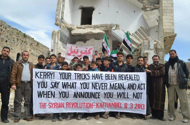 Always the first to tap in to current affairs, the Kafranbel guys reacted to the news that John Kerry had been appointed U.S. foreign secretary of state with a provocative message - act now or never for Syria.