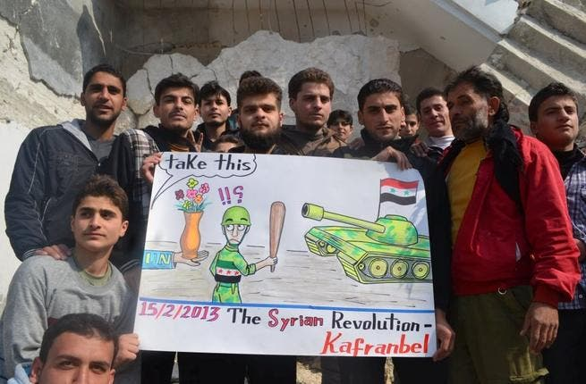 While successive UN statesman have made grand statements on the state of Syria, these activists know that words and weapons are not one and the same. They might look pretty but UN flowers won't hold back tanks.