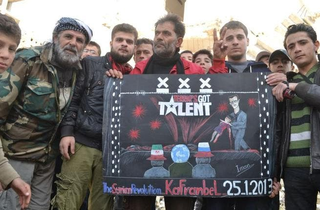 With the success of TV talent shows across the region, the Kafranbel guys thought they'd get in on the action with a more serious message - terrror's got talent too. Their image of Assad wielding a dead child said more than Ragheb Alama or Ahlam ever could.