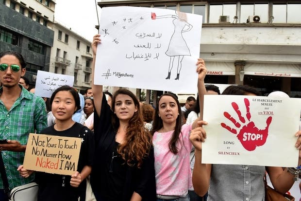 An image from 2017 when hundreds staged a protest in the Moroccan city of Casablanca against sexual harassment after footage of a woman being assaulted on a bus caused outrage across the North African country. (AFP/File Photo)