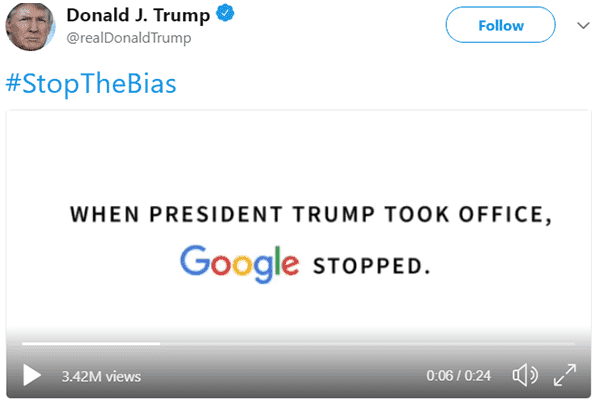 Trump posted a video claiming the search engine was used to promote the State of the Union (SOTU) address on the homepage, however, they stopped doing it since Trump took the office.