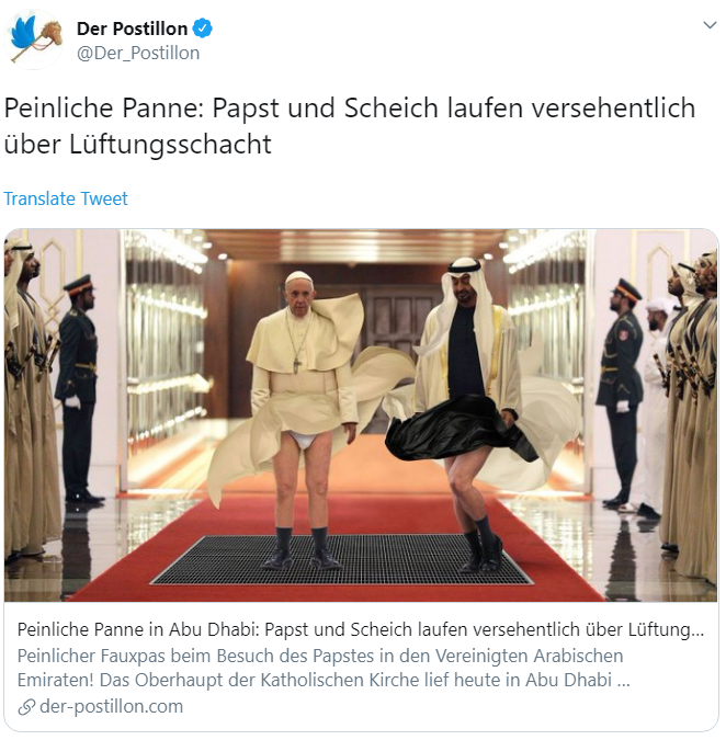 German Newspaper Prints Offensive Photoshop Of Pope And Sheikh Mohammed Al Bawaba