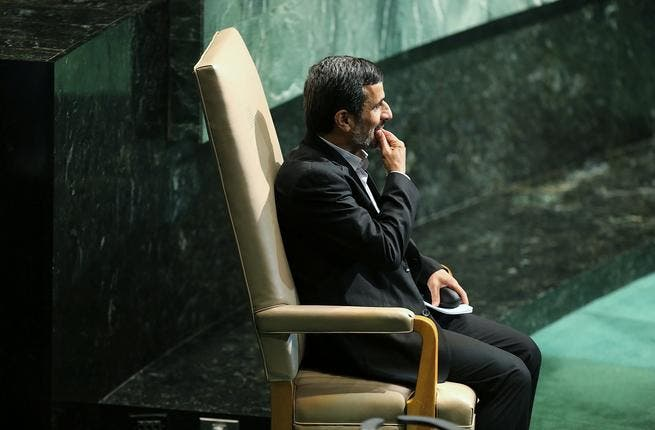 Iranian president, Mahmoud Ahmadinejad, attends the UN General Assembly in September