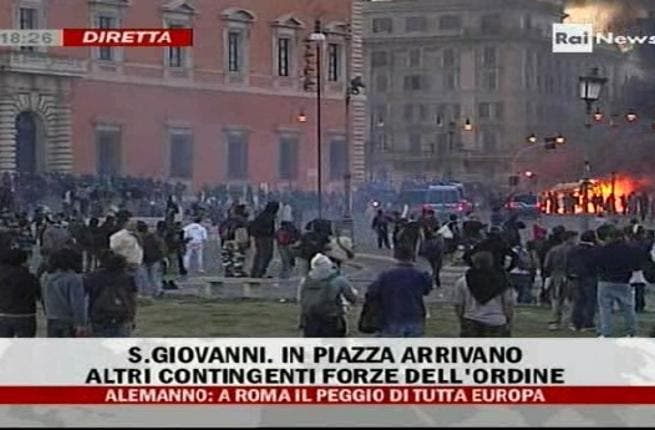 Rome: On the weekend of 'October 15th'-  given credence & official license by an eponymous Twitter hash-tag- peaceful, ubiquitous demonstrations near the Colosseum turned ugly & riotous. As Rome went up in flames, Italians investigated what had tipped a mass-gathering to register complaint & economic distress, into street violence by youth mobs.