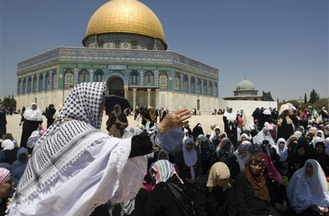 A Palestinian woman outside the al Aqsa mosque in Jerusalem