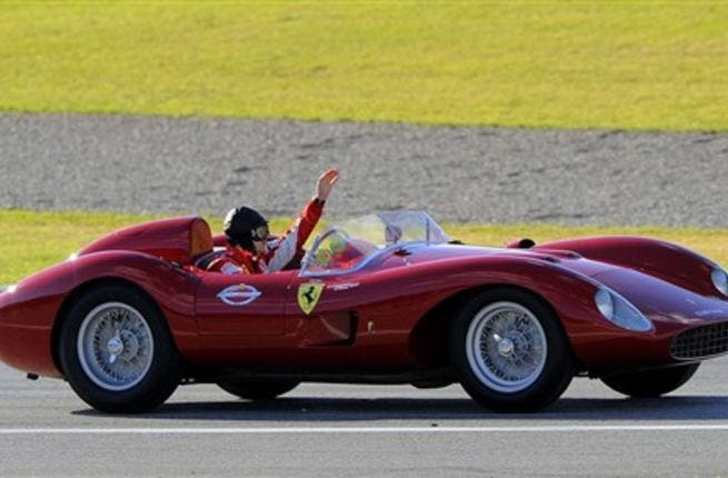 Ferrari Brazilian driver Felipe Massa drives a vintage Ferrari during the second annual Ferrari World Finals festival at the Ricardo Tormo racetrack in Cheste, on November 28, 2010