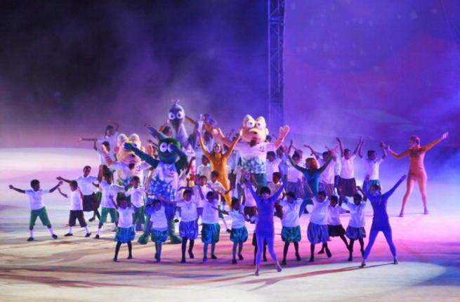 MUSCAT, OMAN - DECEMBER 16: The games mascots dance during the Closing Ceremony at Al-Musannah Sports City on day nine of the 2nd Asian Beach Games Muscat 2010 on December 16, 2010 in Muscat, Oman.
