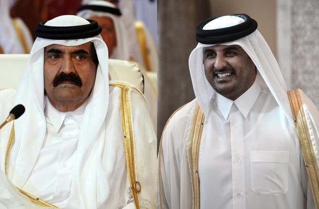 From left to right: A March 26, 2013 file photo shows Qatar's Emir Hamad bin Khalifa al-Thani attending the opening of the Arab League summit in the Qatari capital Doha, and his son, the new emir Sheikh Tamim bin Hamad al-Thani smiling as he arrives in the Bahraini capital of Manama on December 24, 2012. (AFP)